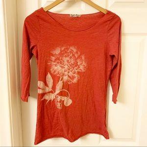 Lucky Brand | Vintage Lotus Tee | 3/4 sleeve | M
